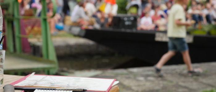 Photo des croquis et peintures faits pendant la soirée d'inauguration de La Rive aux Barges