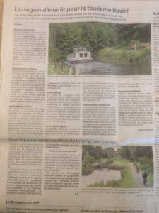 Article de Ouest France sur le regain d'intérêt pour le tourisme fluvial