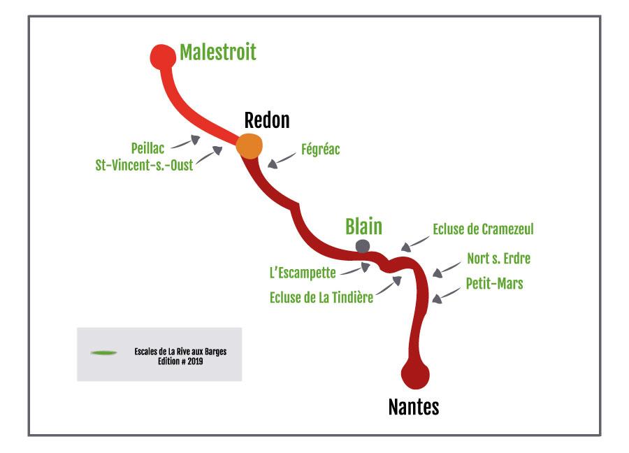Plan des escales du festival La Rive aux Barges