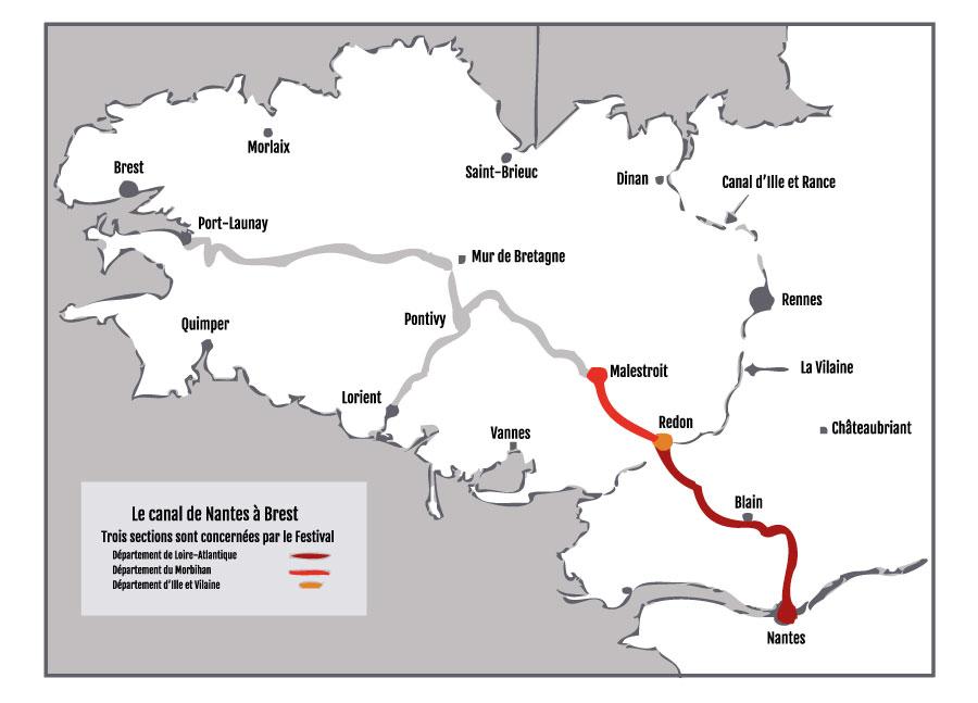 Plan du canal de Nantes à Brest et de la section concernée par le festival La Rive aux Barges