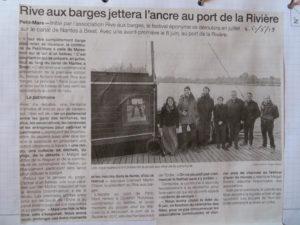 Article Ouest-France sur l'escale à venir à Petit-Mars